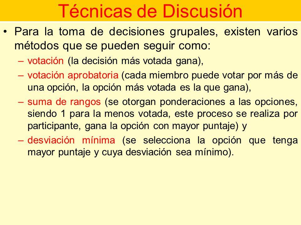 Técnicas de Discusión Para la toma de decisiones grupales, existen varios métodos que se pueden seguir como: