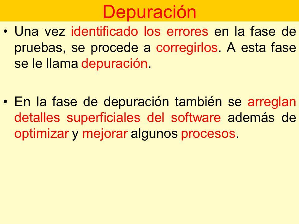 Depuración Una vez identificado los errores en la fase de pruebas, se procede a corregirlos. A esta fase se le llama depuración.