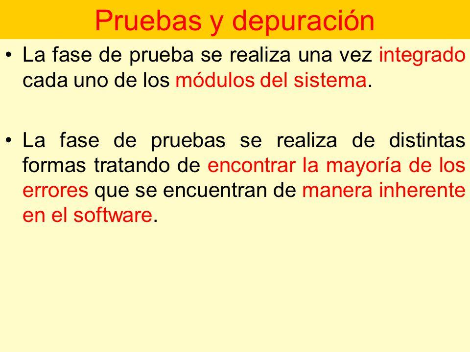 Pruebas y depuración La fase de prueba se realiza una vez integrado cada uno de los módulos del sistema.