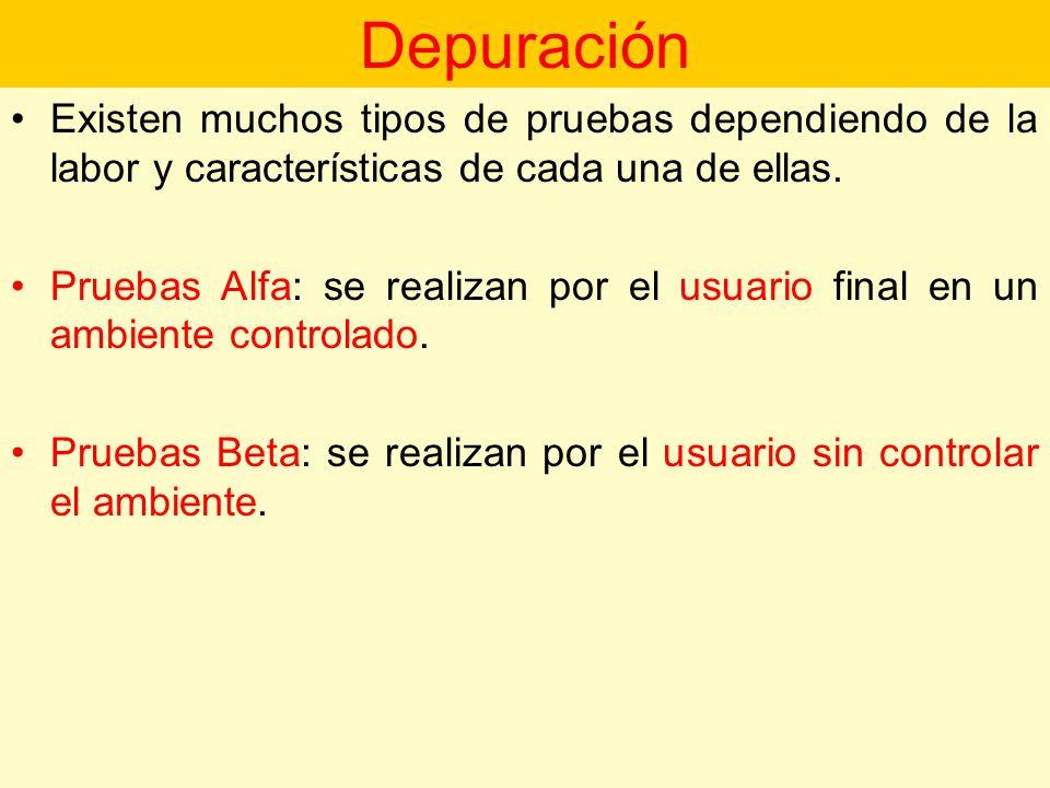 Depuración Existen muchos tipos de pruebas dependiendo de la labor y características de cada una de ellas.