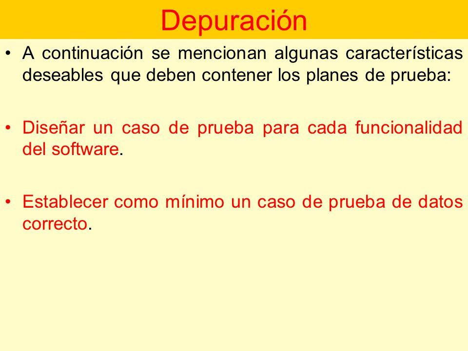 Depuración A continuación se mencionan algunas características deseables que deben contener los planes de prueba: