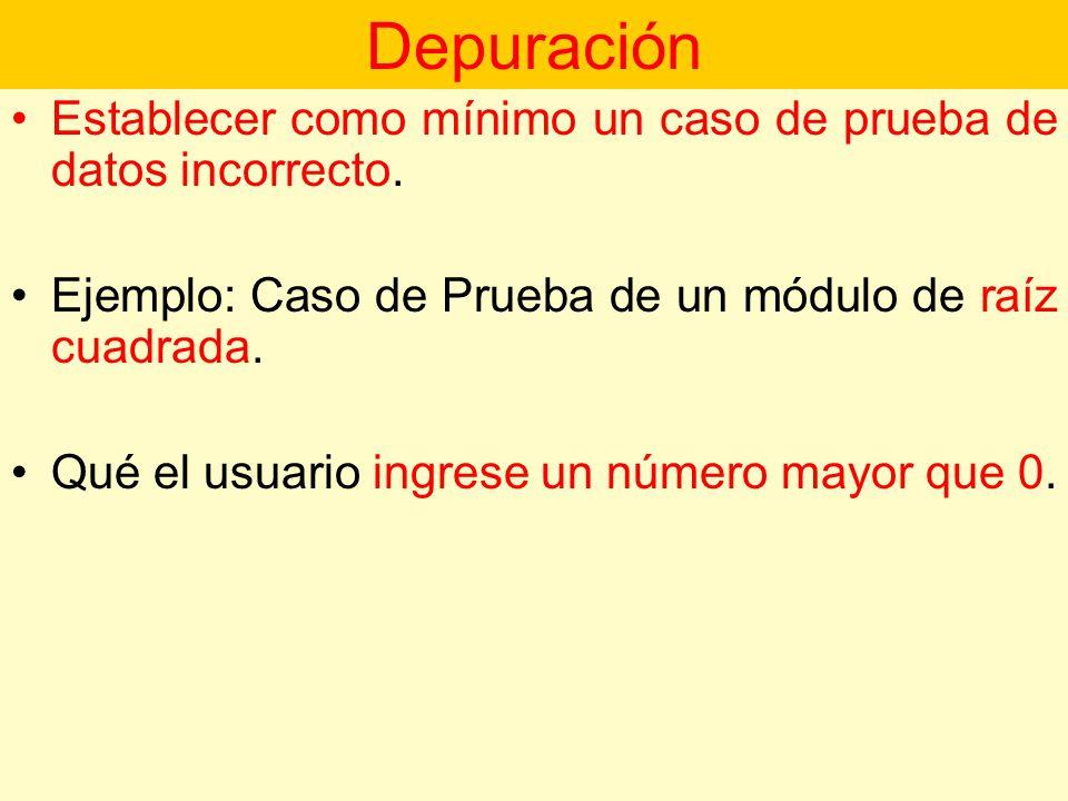 Depuración Establecer como mínimo un caso de prueba de datos incorrecto. Ejemplo: Caso de Prueba de un módulo de raíz cuadrada.