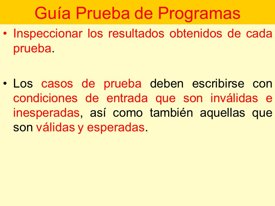 Guía Prueba de Programas