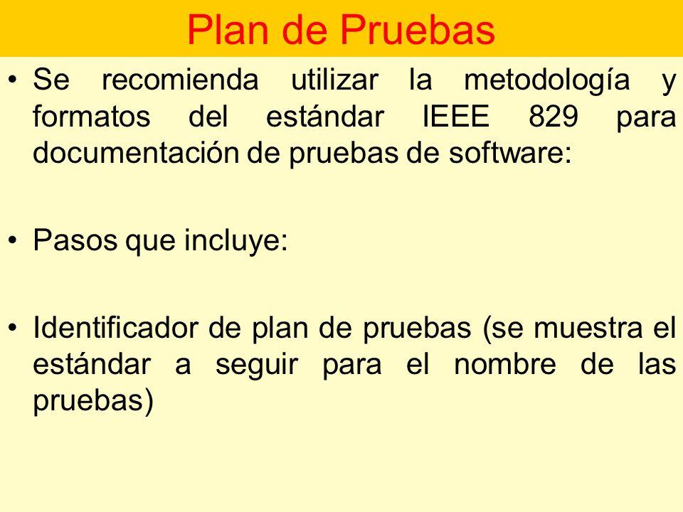 Plan de Pruebas Se recomienda utilizar la metodología y formatos del estándar IEEE 829 para documentación de pruebas de software: