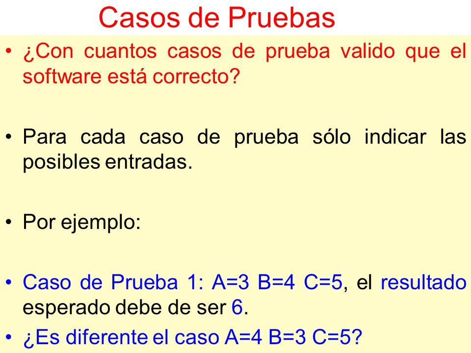 Casos de Pruebas ¿Con cuantos casos de prueba valido que el software está correcto Para cada caso de prueba sólo indicar las posibles entradas.