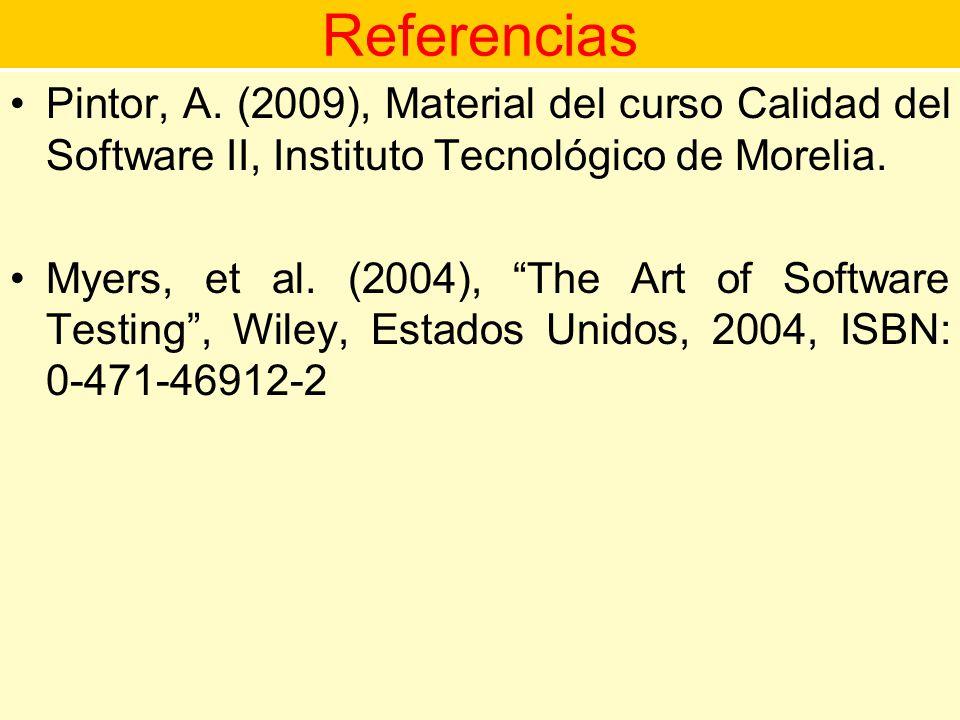 Referencias Pintor, A. (2009), Material del curso Calidad del Software II, Instituto Tecnológico de Morelia.