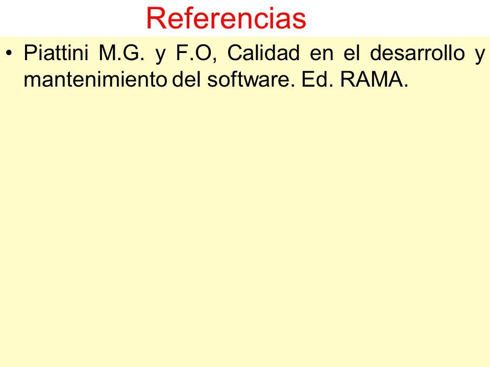 Referencias Piattini M.G. y F.O, Calidad en el desarrollo y mantenimiento del software. Ed. RAMA.