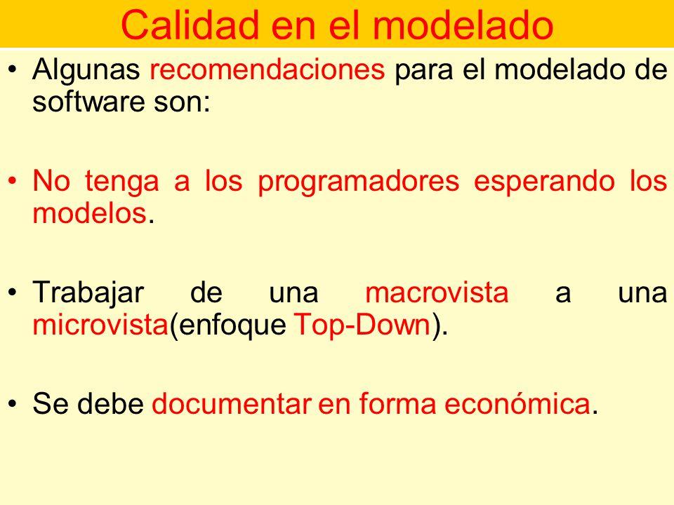 Calidad en el modelado Algunas recomendaciones para el modelado de software son: No tenga a los programadores esperando los modelos.