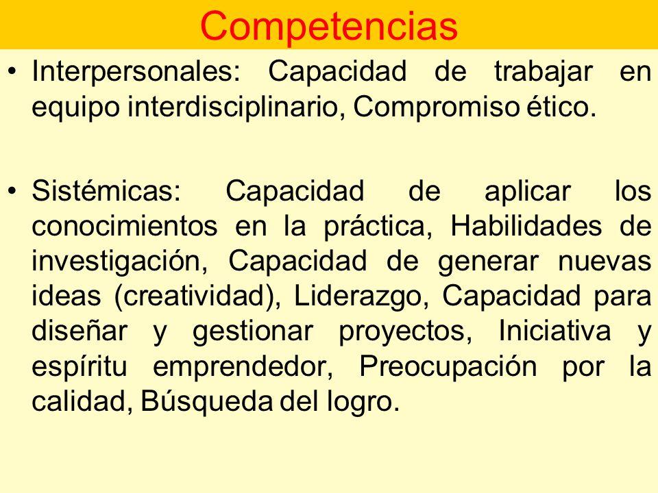 Competencias Interpersonales: Capacidad de trabajar en equipo interdisciplinario, Compromiso ético.