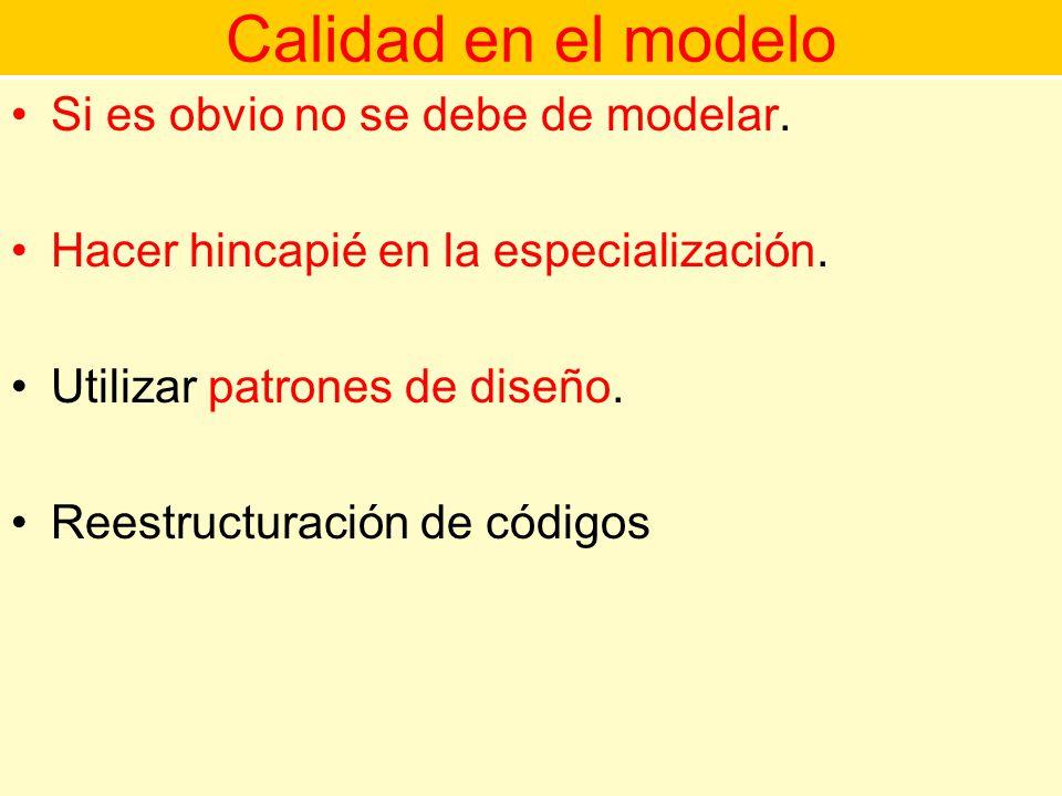 Calidad en el modelo Si es obvio no se debe de modelar.