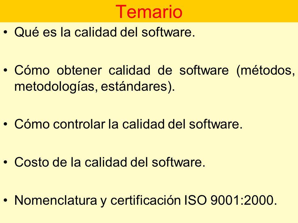 Temario Qué es la calidad del software.
