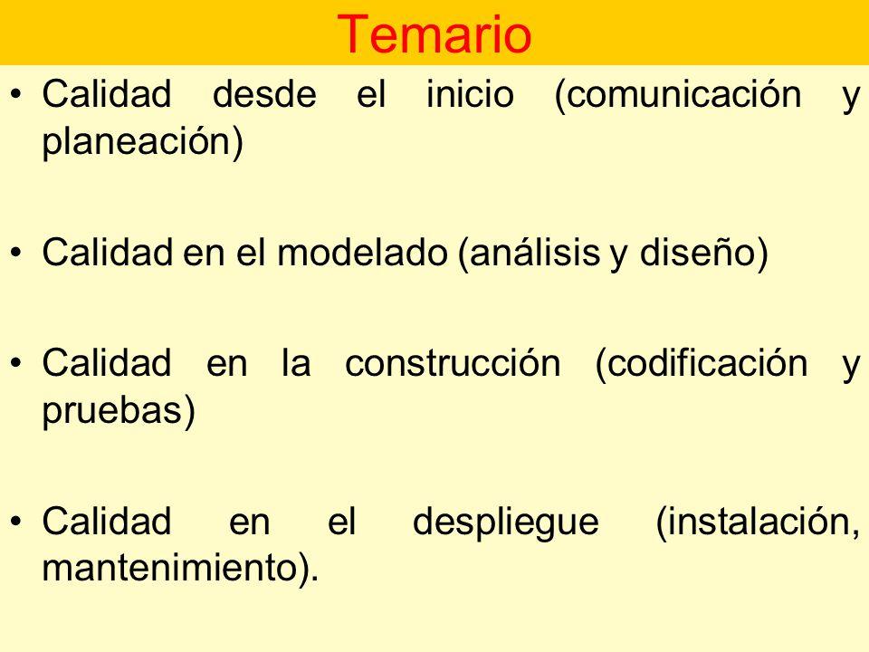 Temario Calidad desde el inicio (comunicación y planeación)