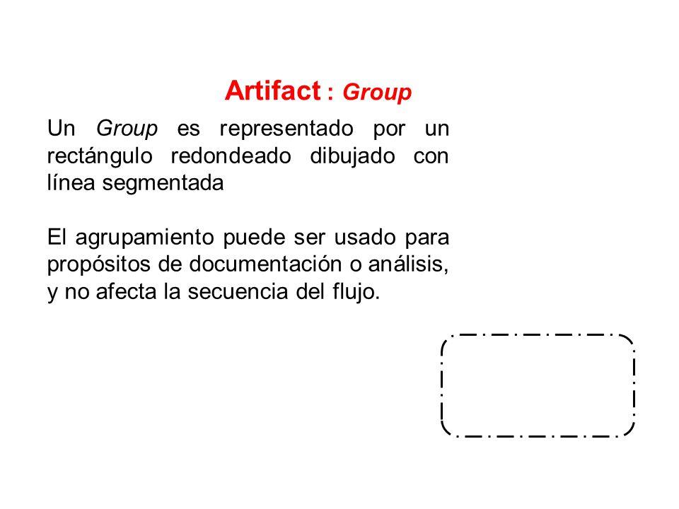 Artifact : Group Un Group es representado por un rectángulo redondeado dibujado con línea segmentada.