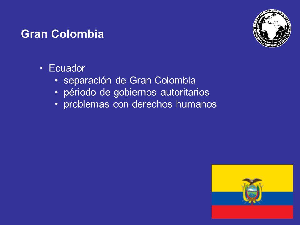 Gran Colombia Ecuador separación de Gran Colombia