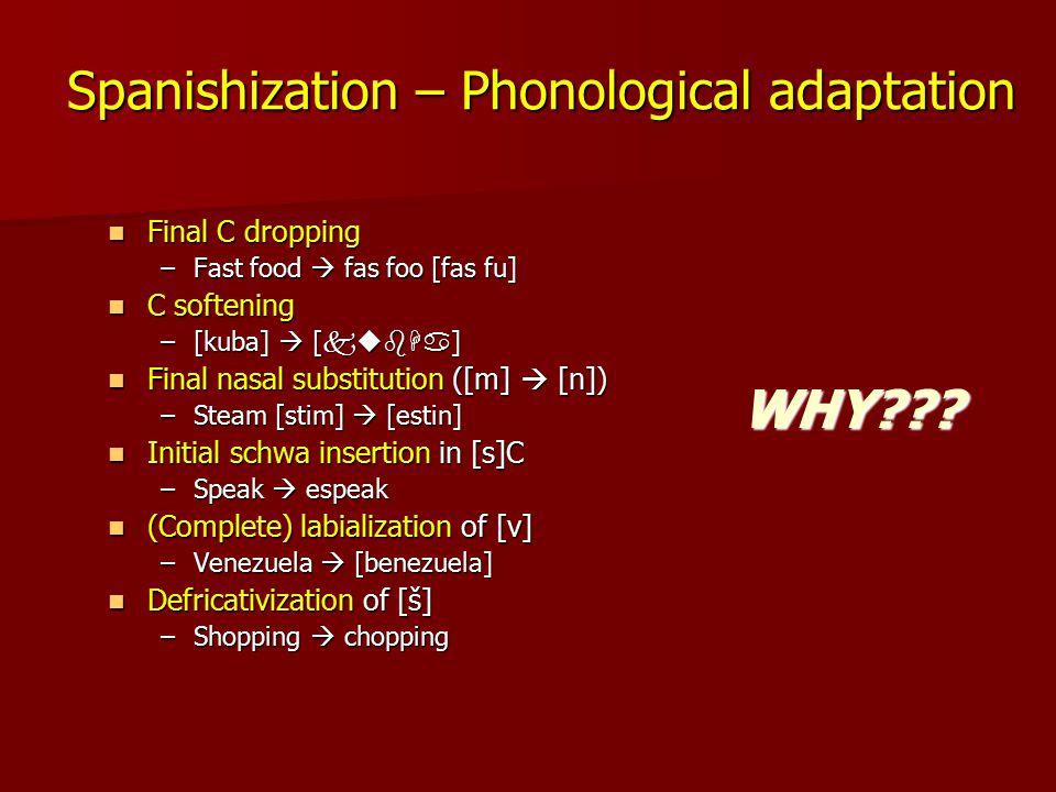 Spanishization – Phonological adaptation