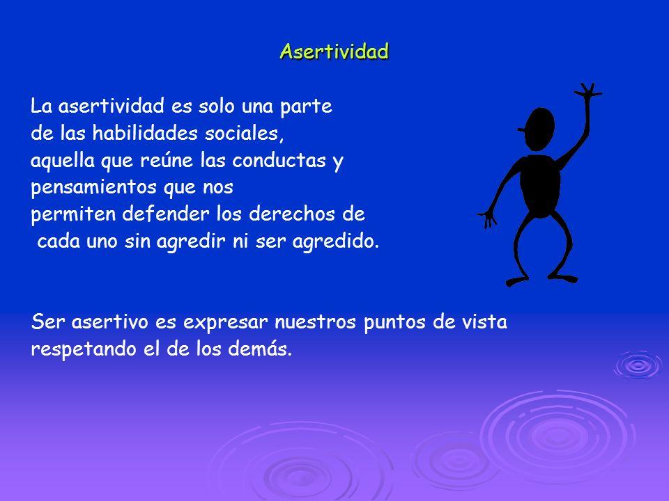 Asertividad La asertividad es solo una parte. de las habilidades sociales, aquella que reúne las conductas y.