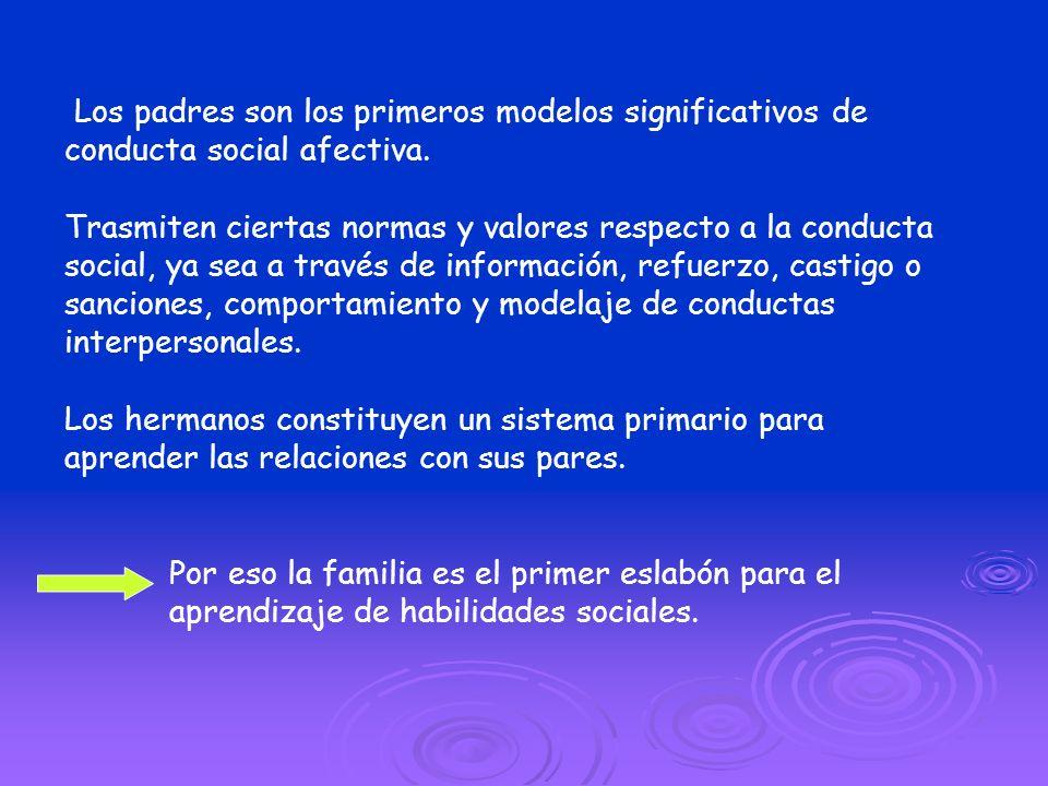 Los padres son los primeros modelos significativos de conducta social afectiva.