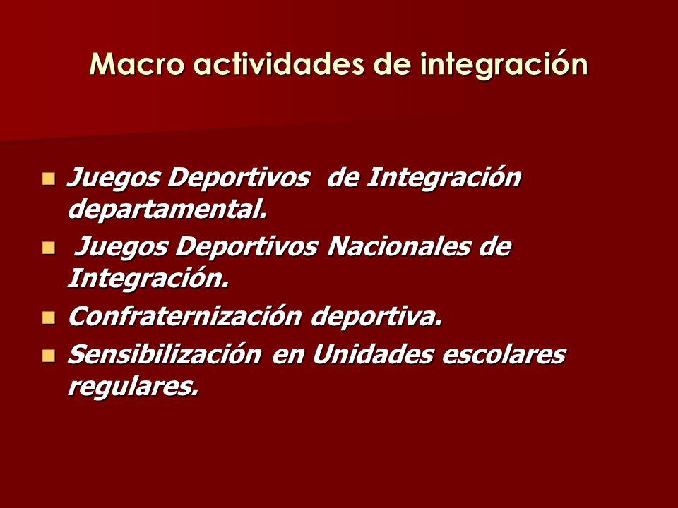 Macro actividades de integración