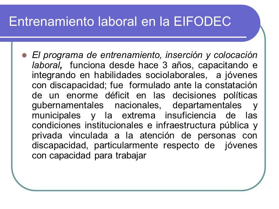 Entrenamiento laboral en la EIFODEC