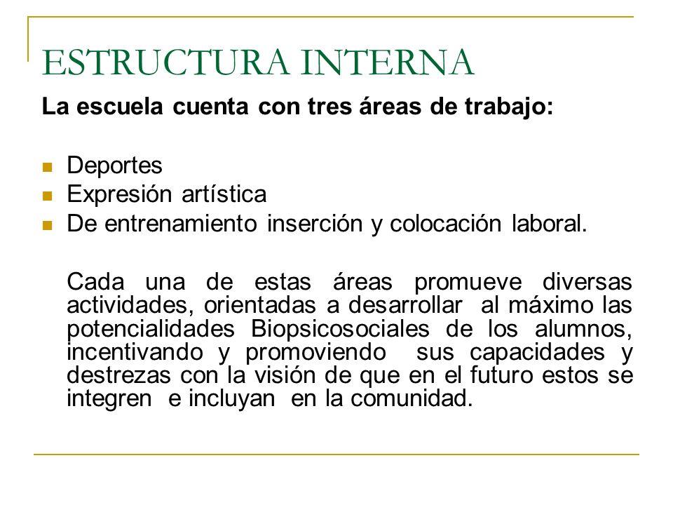 ESTRUCTURA INTERNA La escuela cuenta con tres áreas de trabajo: