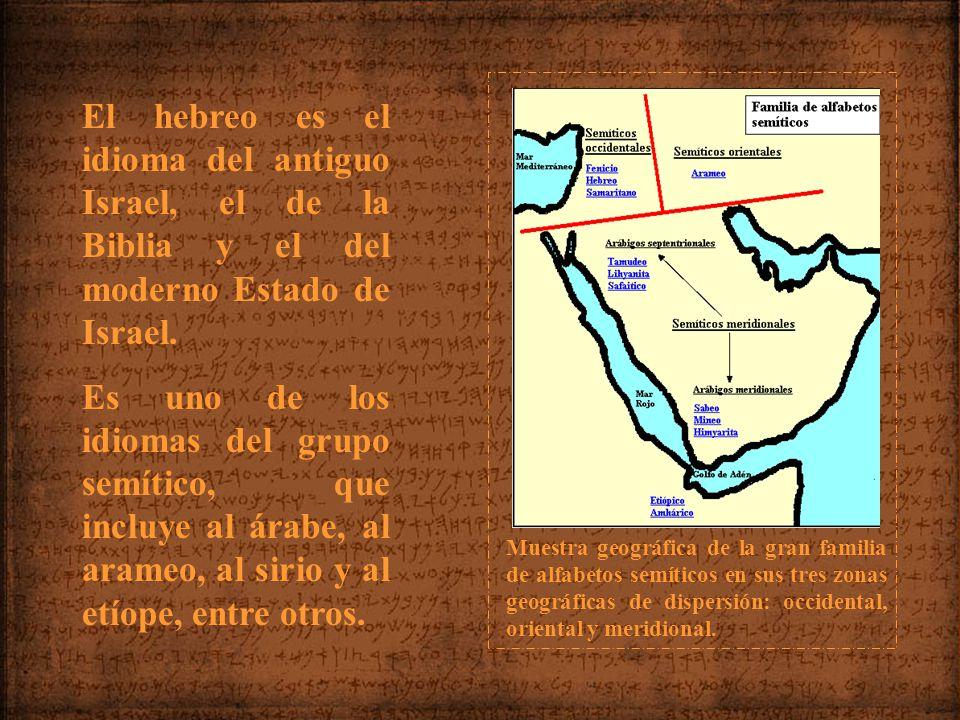 Muestra geográfica de la gran familia de alfabetos semíticos en sus tres zonas geográficas de dispersión: occidental, oriental y meridional.