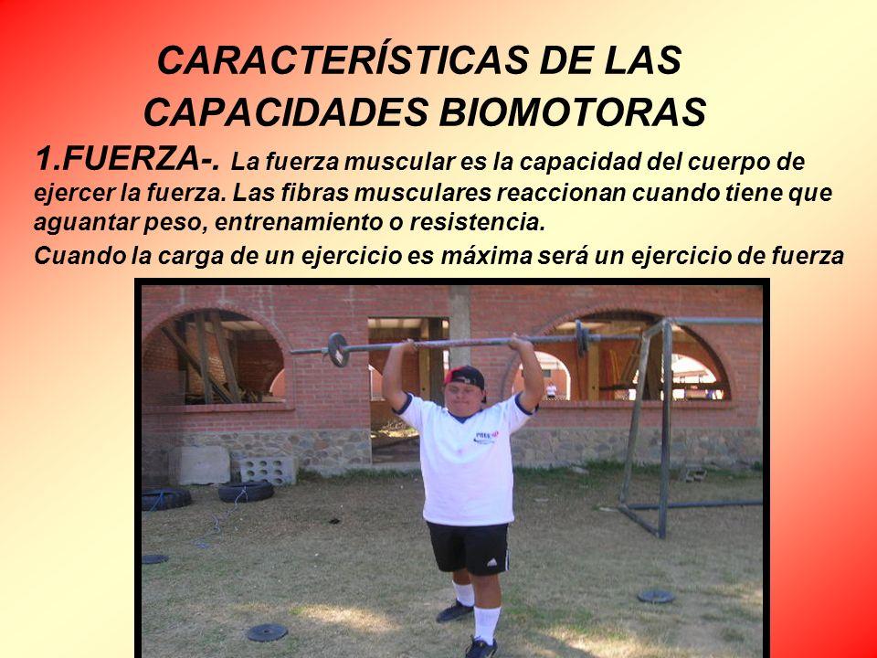 CARACTERÍSTICAS DE LAS CAPACIDADES BIOMOTORAS 1. FUERZA-