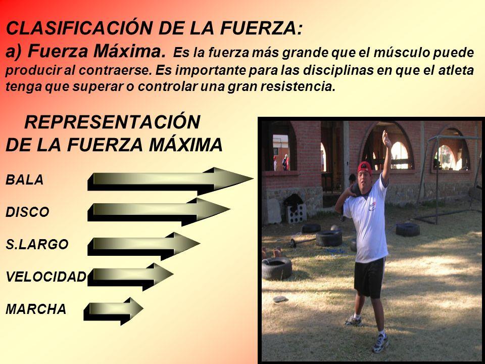 CLASIFICACIÓN DE LA FUERZA: a) Fuerza Máxima