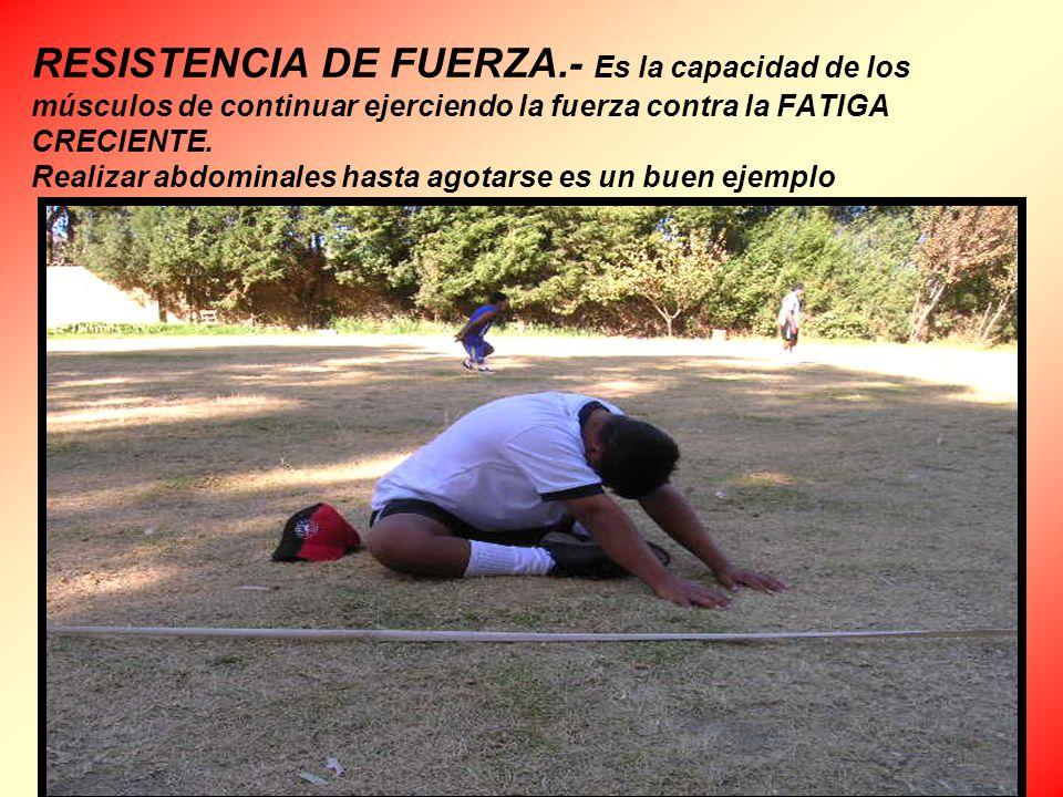 RESISTENCIA DE FUERZA.- Es la capacidad de los músculos de continuar ejerciendo la fuerza contra la FATIGA CRECIENTE.