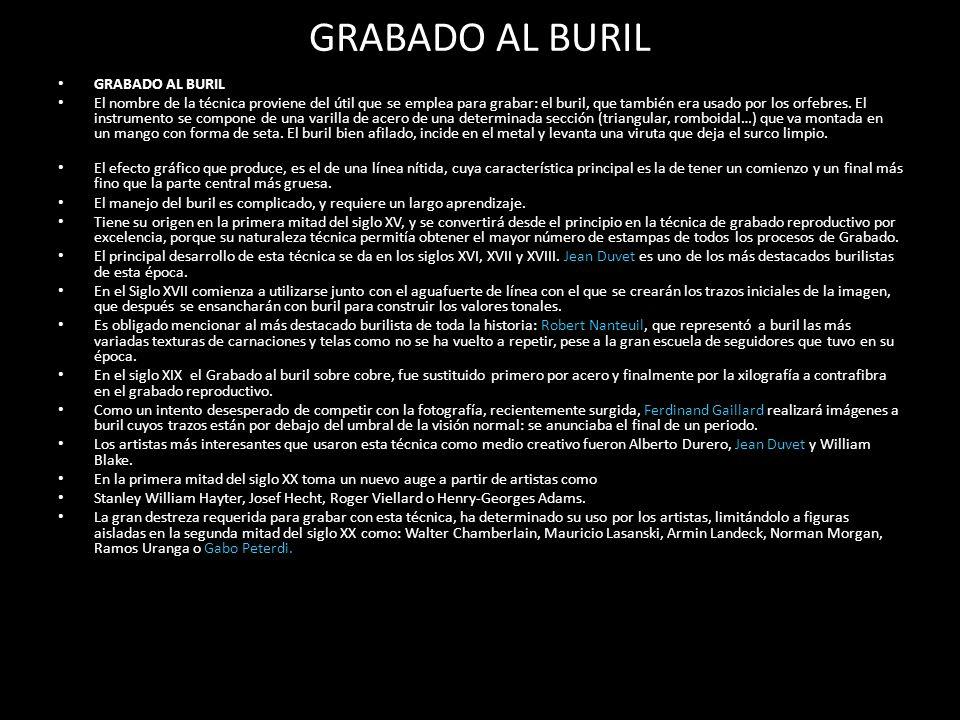 GRABADO AL BURIL GRABADO AL BURIL
