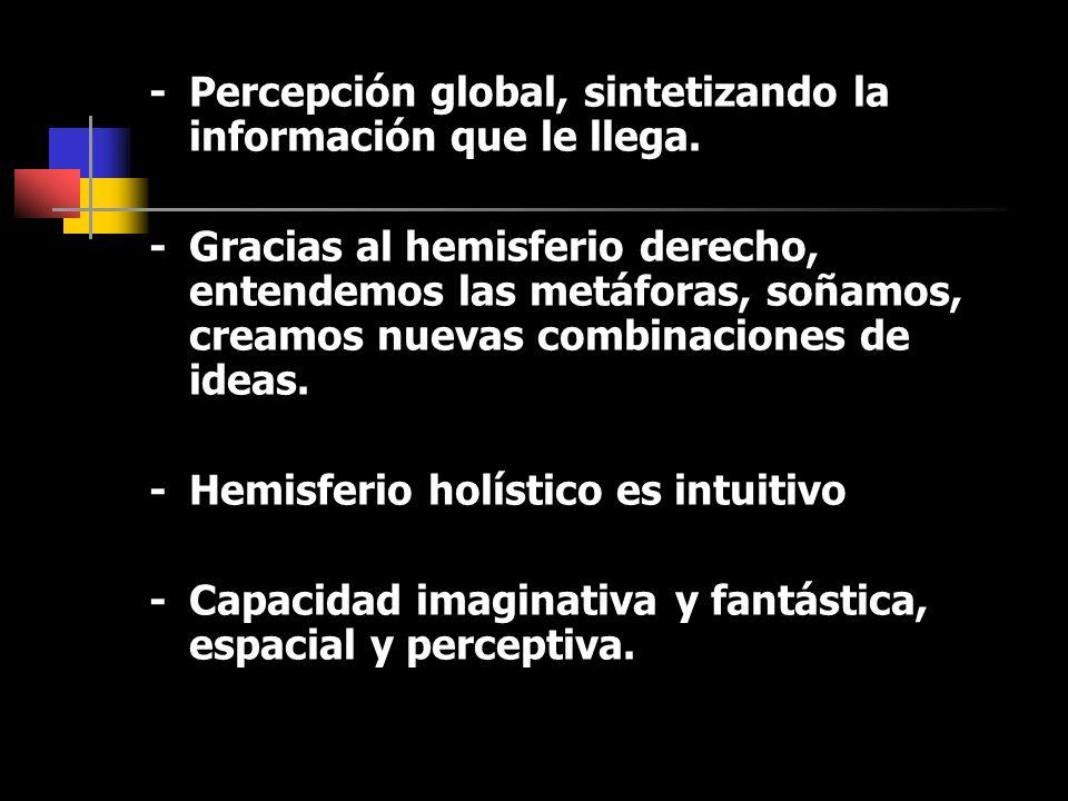 - Percepción global, sintetizando la información que le llega.