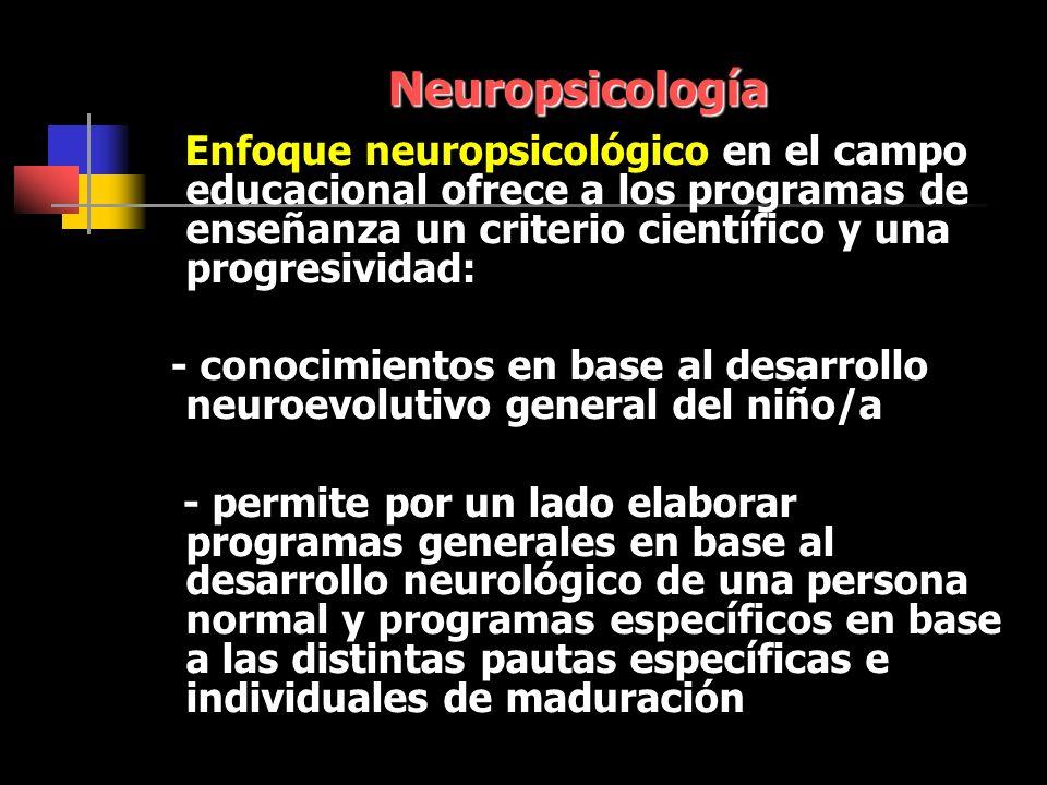 Neuropsicología Enfoque neuropsicológico en el campo educacional ofrece a los programas de enseñanza un criterio científico y una progresividad: