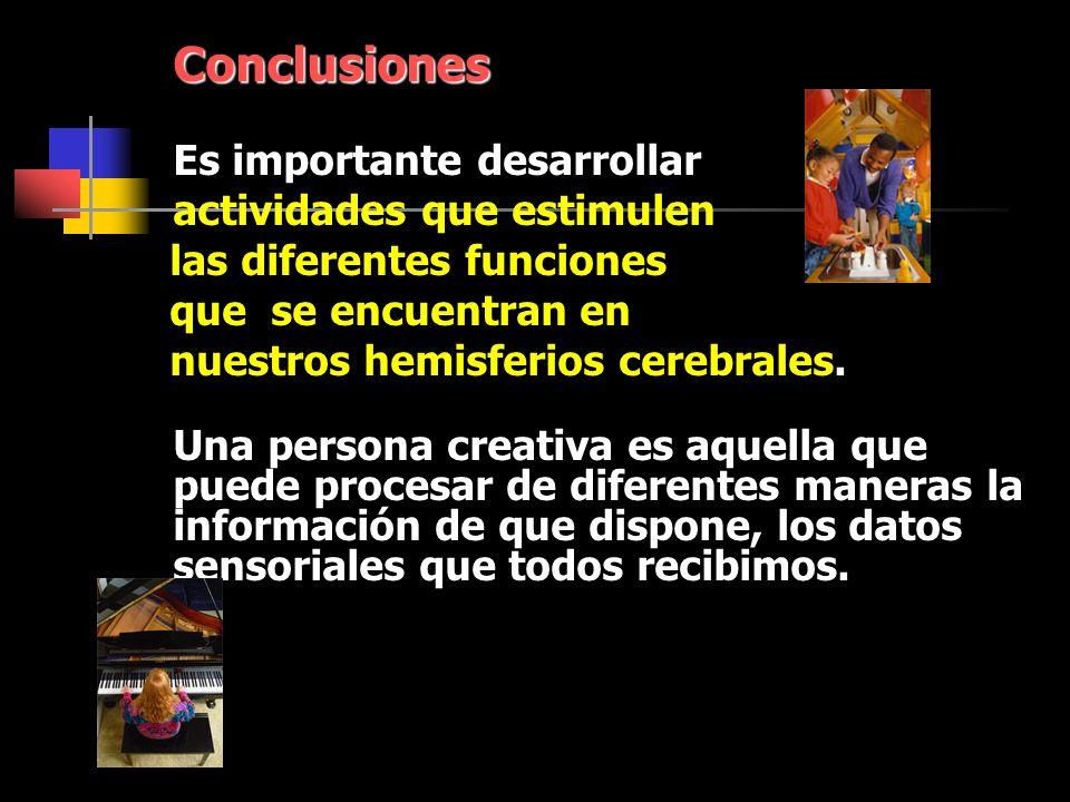 Conclusiones actividades que estimulen las diferentes funciones