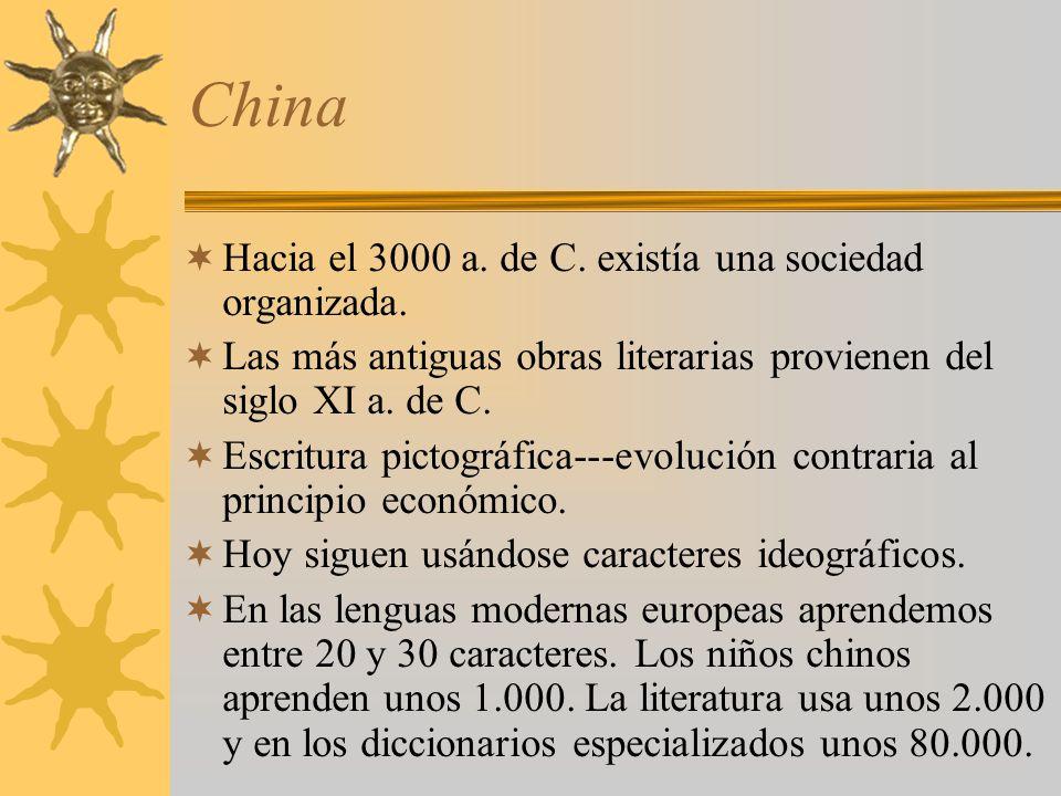 China Hacia el 3000 a. de C. existía una sociedad organizada.