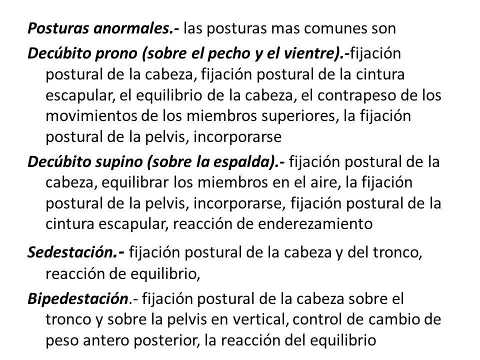 Posturas anormales.- las posturas mas comunes son Decúbito prono (sobre el pecho y el vientre).-fijación postural de la cabeza, fijación postural de la cintura escapular, el equilibrio de la cabeza, el contrapeso de los movimientos de los miembros superiores, la fijación postural de la pelvis, incorporarse Decúbito supino (sobre la espalda).- fijación postural de la cabeza, equilibrar los miembros en el aire, la fijación postural de la pelvis, incorporarse, fijación postural de la cintura escapular, reacción de enderezamiento Sedestación.- fijación postural de la cabeza y del tronco, reacción de equilibrio, Bipedestación.- fijación postural de la cabeza sobre el tronco y sobre la pelvis en vertical, control de cambio de peso antero posterior, la reacción del equilibrio