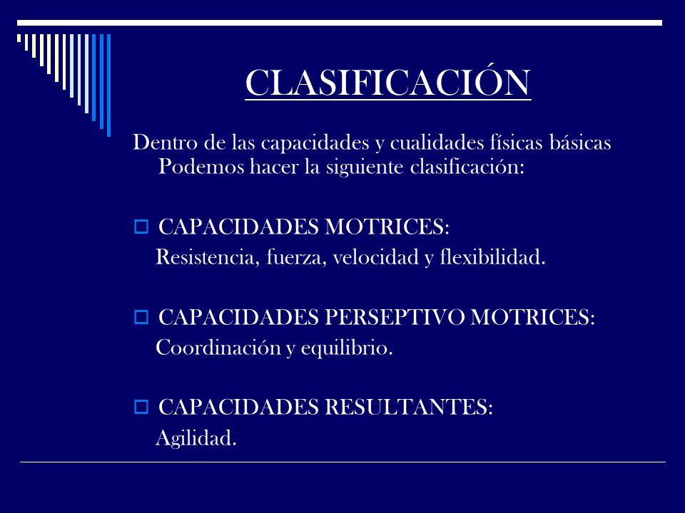 CLASIFICACIÓN Dentro de las capacidades y cualidades físicas básicas Podemos hacer la siguiente clasificación: