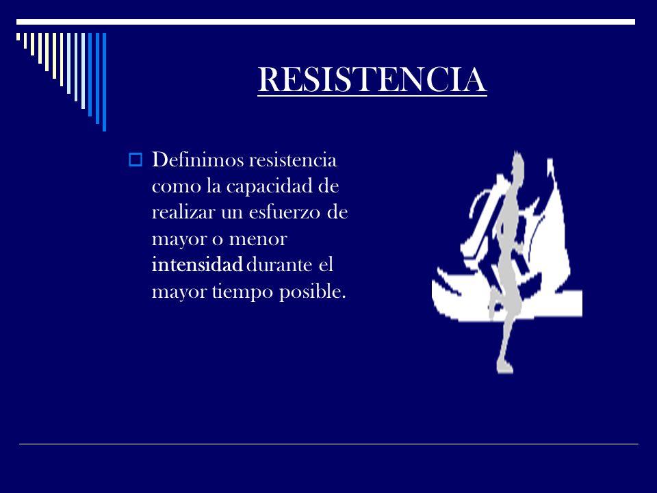 RESISTENCIA Definimos resistencia como la capacidad de realizar un esfuerzo de mayor o menor intensidad durante el mayor tiempo posible.