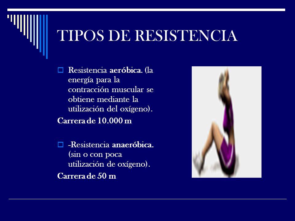 TIPOS DE RESISTENCIA Resistencia aeróbica. (la energía para la contracción muscular se obtiene mediante la utilización del oxígeno).