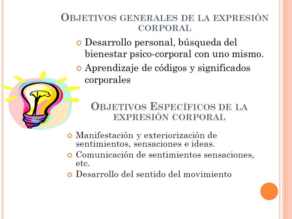 Objetivos generales de la expresión corporal