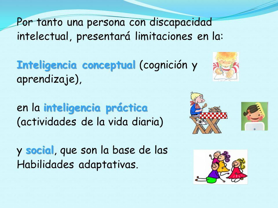 Por tanto una persona con discapacidad intelectual, presentará limitaciones en la: Inteligencia conceptual (cognición y aprendizaje), en la inteligencia práctica (actividades de la vida diaria) y social, que son la base de las Habilidades adaptativas.