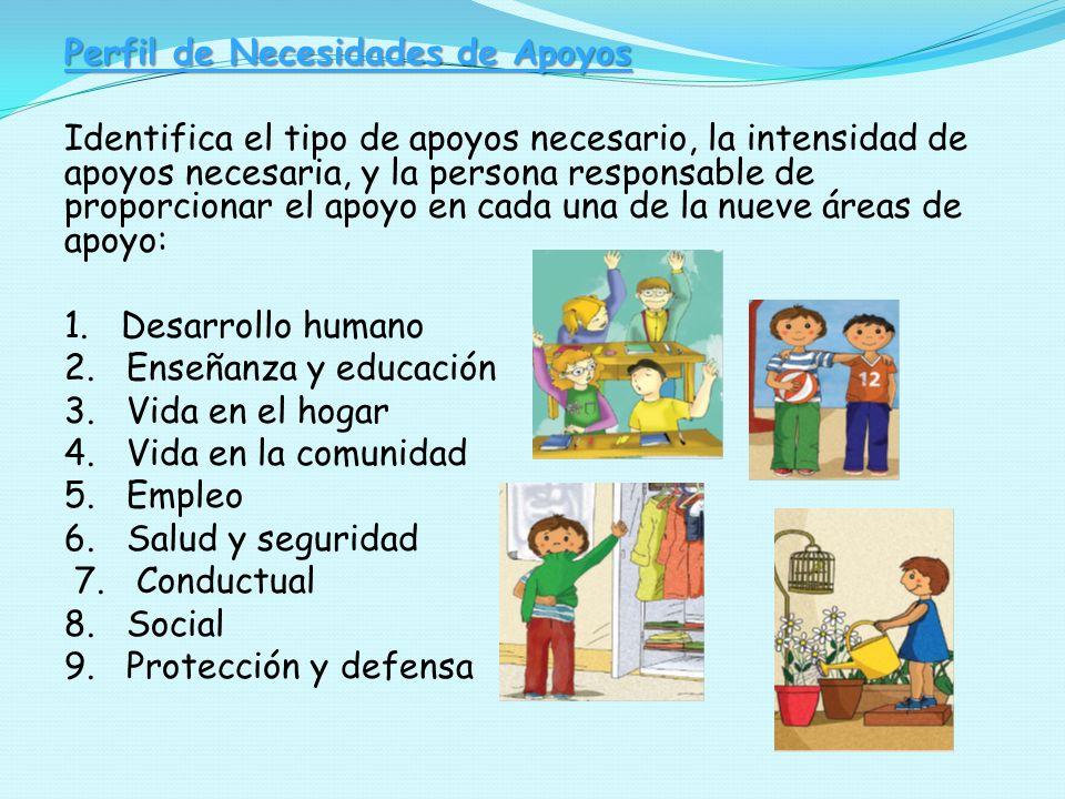 Perfil de Necesidades de Apoyos Identifica el tipo de apoyos necesario, la intensidad de apoyos necesaria, y la persona responsable de proporcionar el apoyo en cada una de la nueve áreas de apoyo: 1.