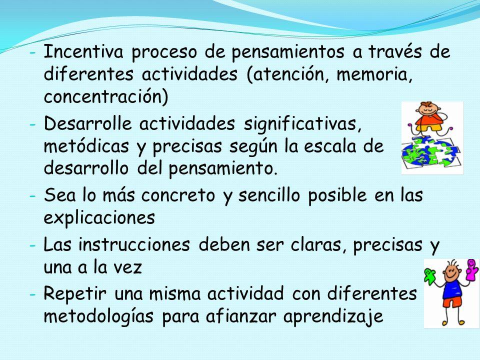 Incentiva proceso de pensamientos a través de diferentes actividades (atención, memoria, concentración)