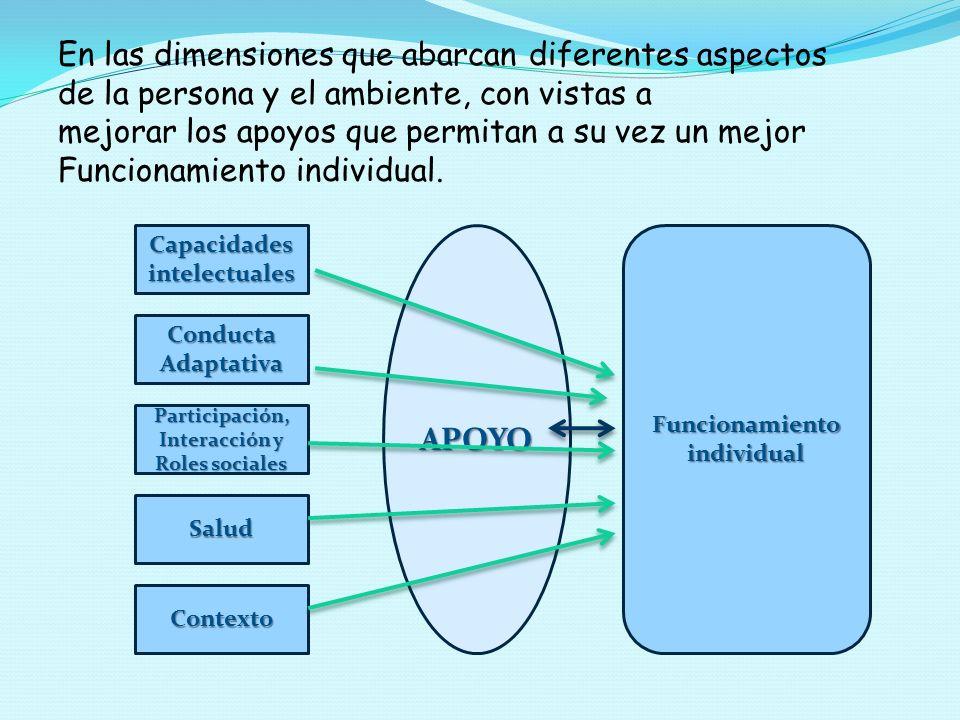 En las dimensiones que abarcan diferentes aspectos de la persona y el ambiente, con vistas a mejorar los apoyos que permitan a su vez un mejor Funcionamiento individual.