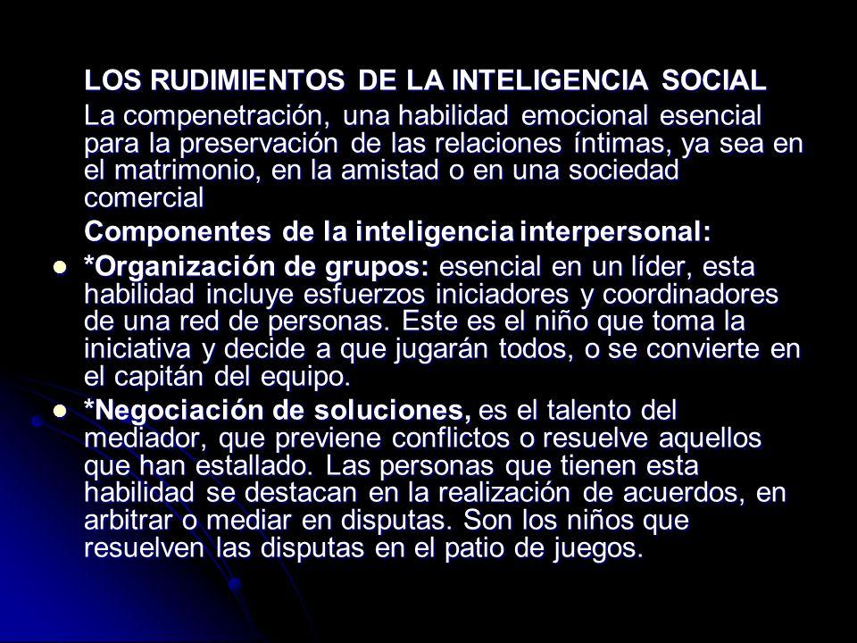 LOS RUDIMIENTOS DE LA INTELIGENCIA SOCIAL