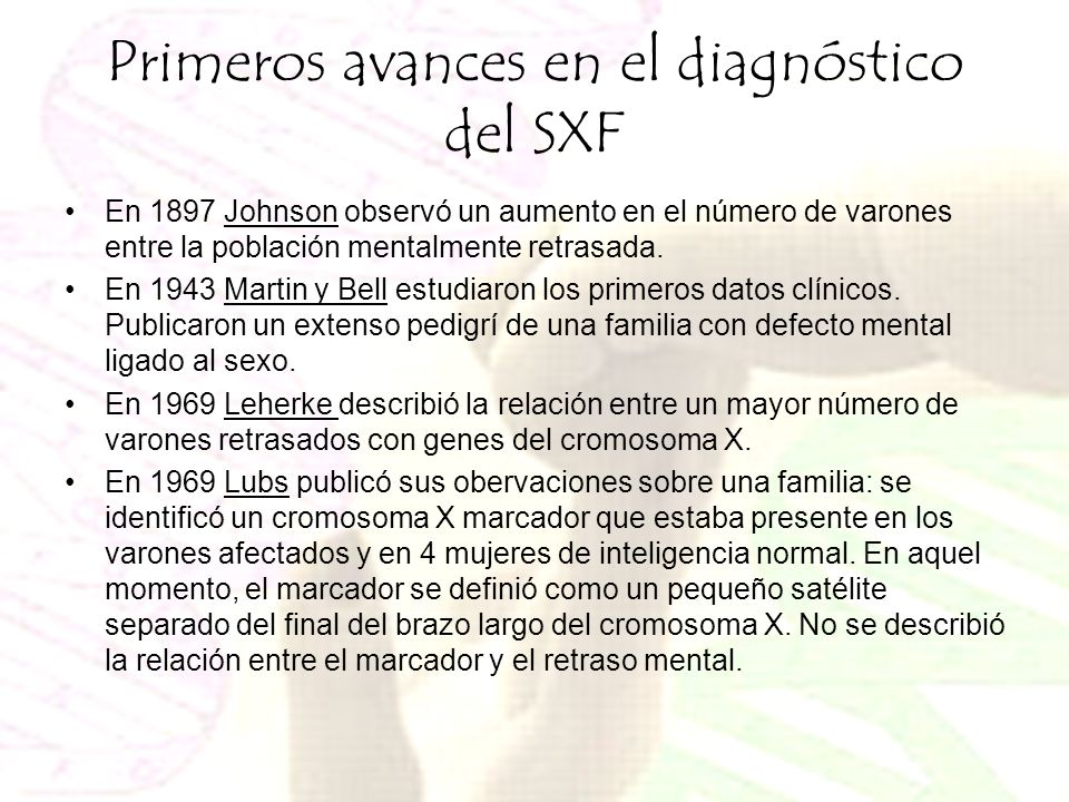 Primeros avances en el diagnóstico del SXF