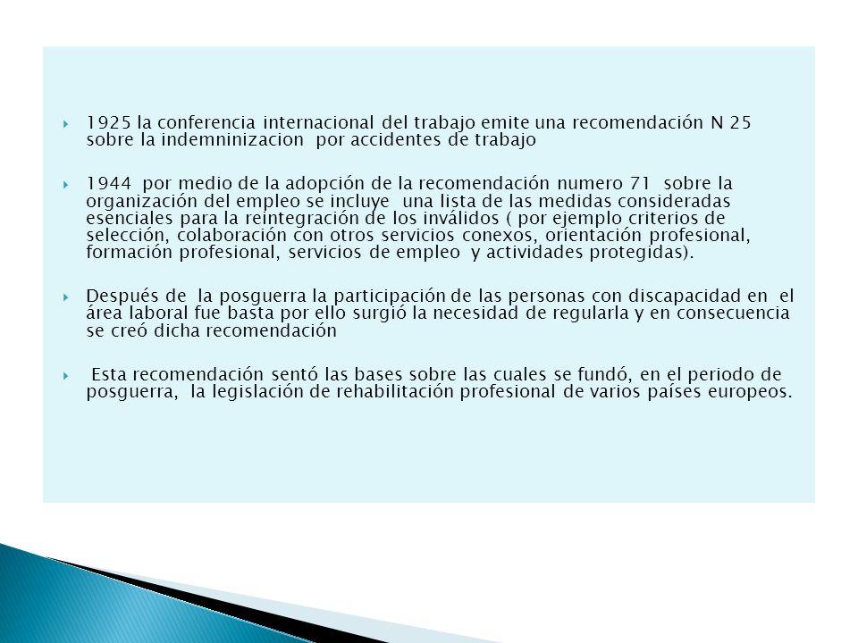 1925 la conferencia internacional del trabajo emite una recomendación N 25 sobre la indemninizacion por accidentes de trabajo