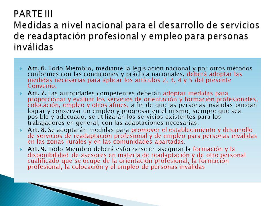 . PARTE III Medidas a nivel nacional para el desarrollo de servicios de readaptación profesional y empleo para personas inválidas.
