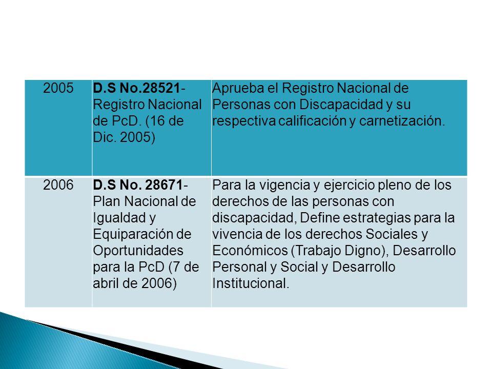 2005 D.S No.28521-Registro Nacional de PcD. (16 de Dic. 2005)