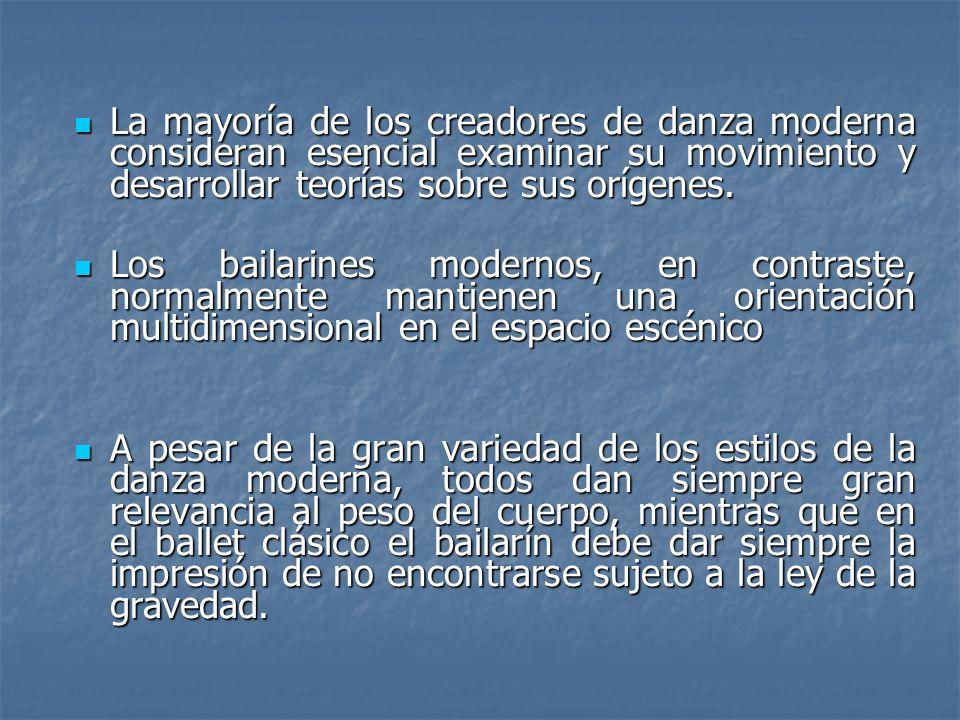La mayoría de los creadores de danza moderna consideran esencial examinar su movimiento y desarrollar teorías sobre sus orígenes.
