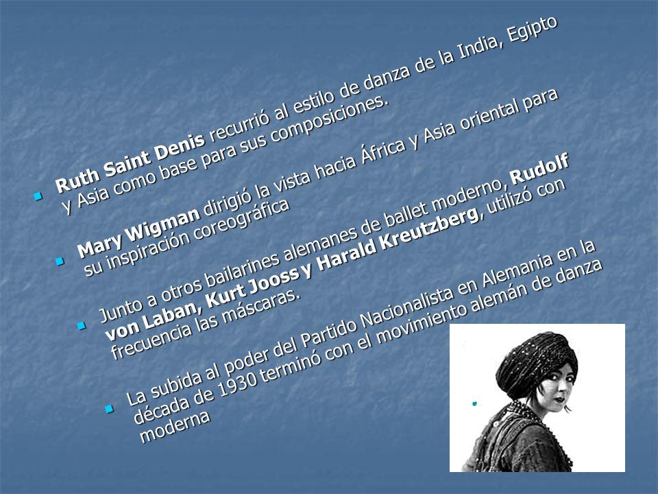 Ruth Saint Denis recurrió al estilo de danza de la India, Egipto y Asia como base para sus composiciones.