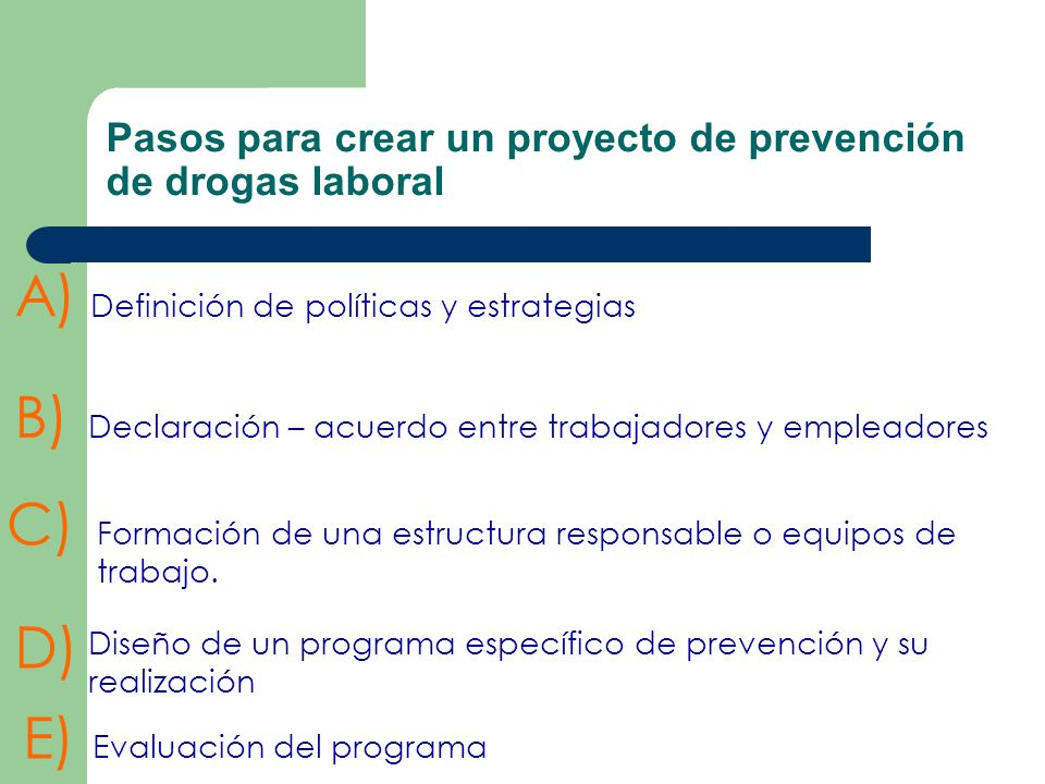 Pasos para crear un proyecto de prevención de drogas laboral